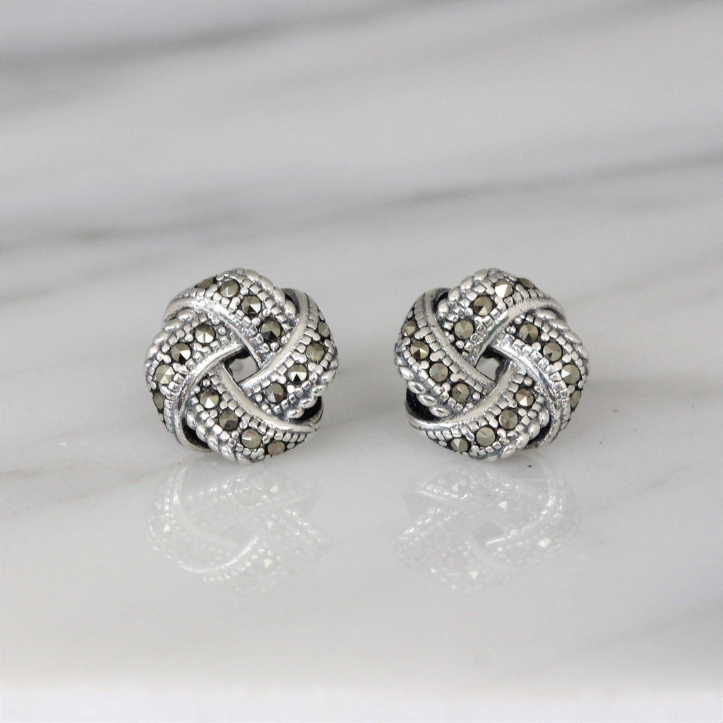 Genuine Sterling Silver 925 Marcasite Vintage Style 11mm Knot Stud Earrings