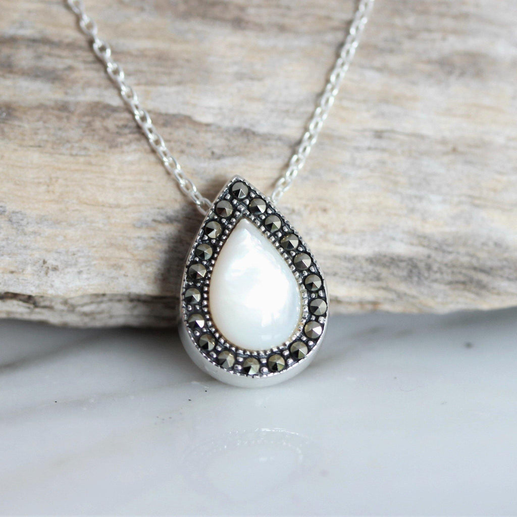 Sterling Silver 925 Marcasite & Mother of Pearl Teardrop Slider Necklace 43+3cm