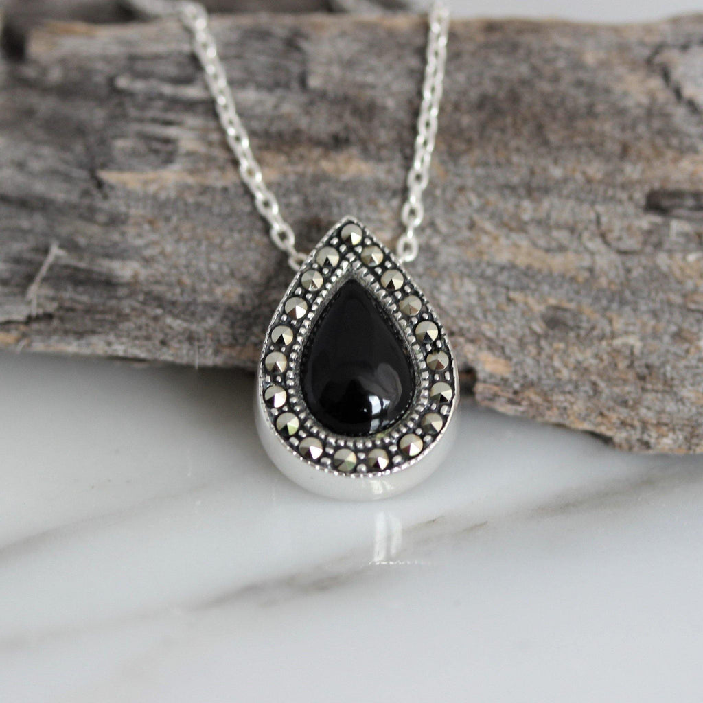 Sterling Silver 925 Marcasite & Black Onyx Teardrop Slider Necklace 43+3cm