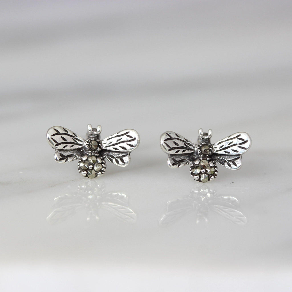 Genuine Sterling Silver 925 Marcasite Vintage Style Bublebee Bee Stud Earrings