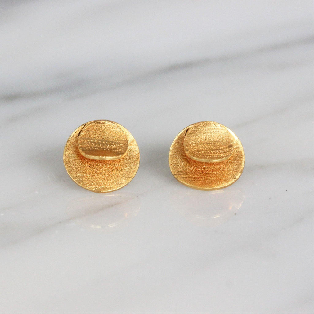 Sterling Silver 925 Yellow Gold Plated 9mm Round Brushed Matt Stud Earrings