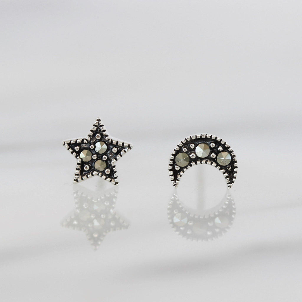 Genuine Sterling Silver 925 Star & Moon Marcasite Vintage Style Stud Earrings
