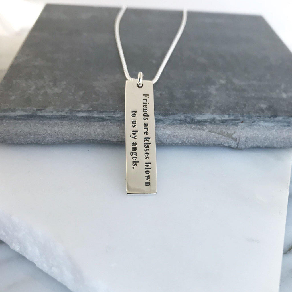 Sterling Silver 925 'Friends Are Kisses Blown To Us By Angels' 45cm Bar Necklace