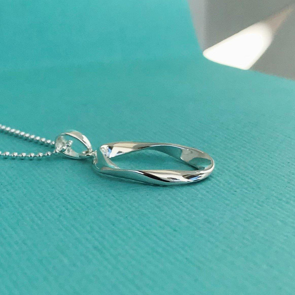 Sterling Silver 925 Modern Asymmetrical Oval Pendant & 55cm Ball Chain Necklace