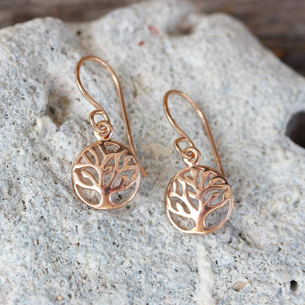 Sterling Silver Rose Gold Plated 10mm Tree of Life Drop Earrings GIGI DESIGNS