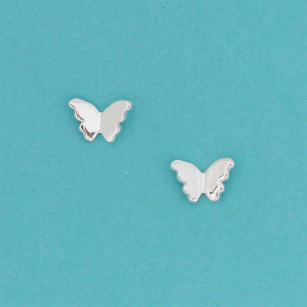 Genuine Sterling Silver 925 Small Butterfly Earrings Stud Post Earrings