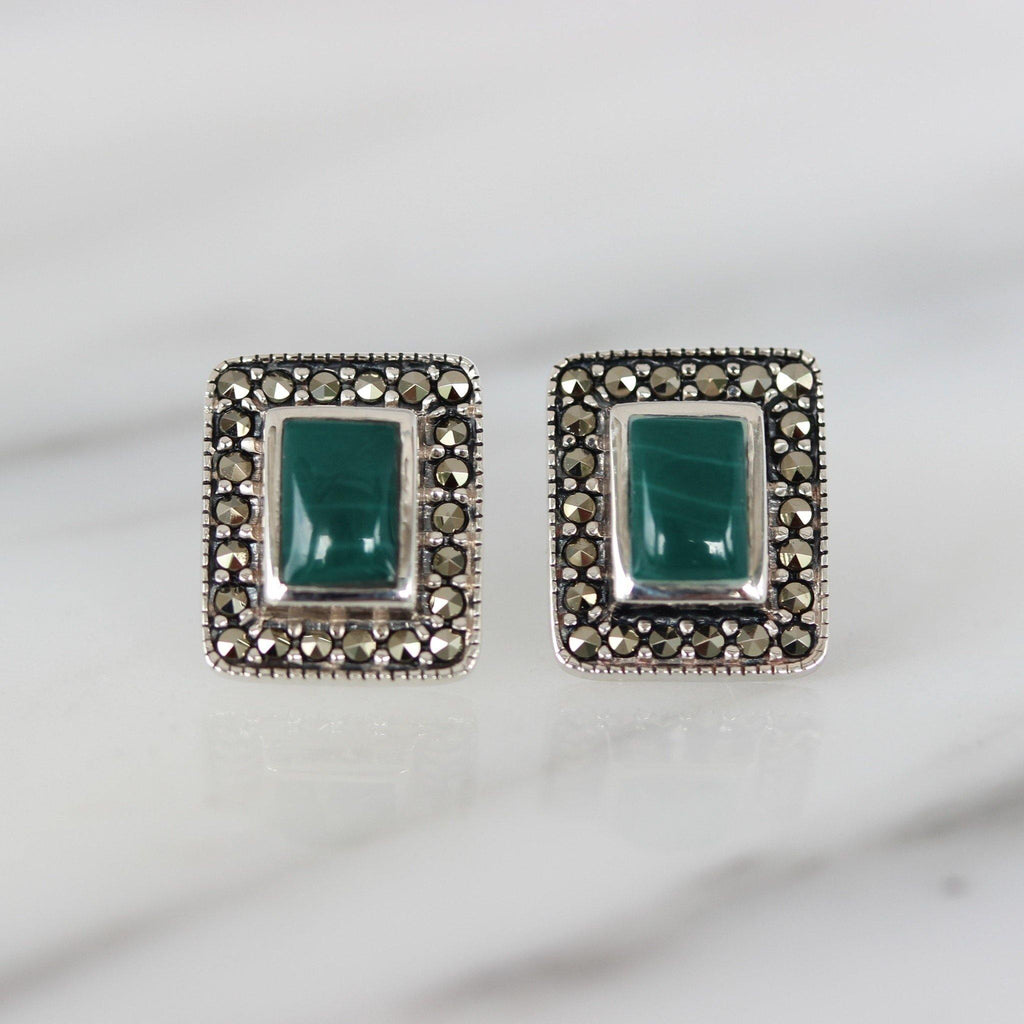 GIGI DESIGNS Sterling Silver 925 Marcasite & Green Agate 10x12 Stud Earrings