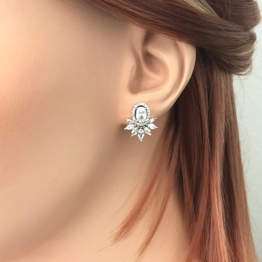 Genuine Sterling Silver 925 Bridal Wedding Oval Halo Cluster CZ Stud Earrings