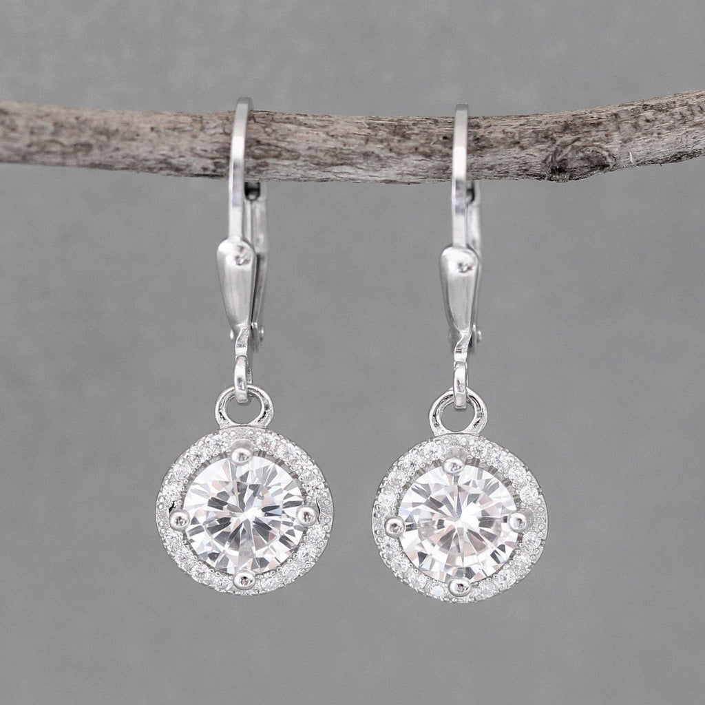 Sterling Silver Bridal Wedding 10mm Round Halo CZ Leverback Drop Earrings