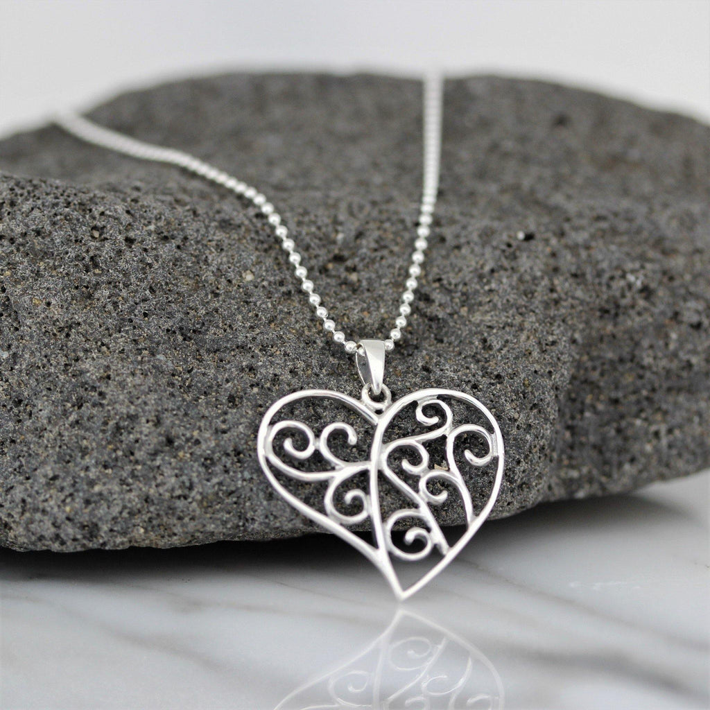 Genuine Sterling Silver 925 Cut Out Heart Pendant & Italian Ball Chain Necklace