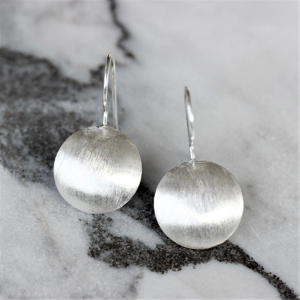 Sterling Silver 925 Modern Brushed Matt Finish 16mm Round Disc Drop Earrings