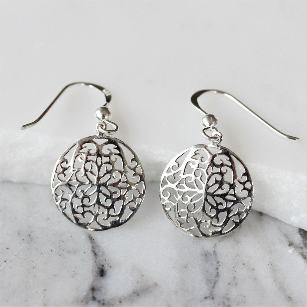 Genuine Sterling Silver Cut Out Patterned 15mm Circle Drop Dangle Earrings