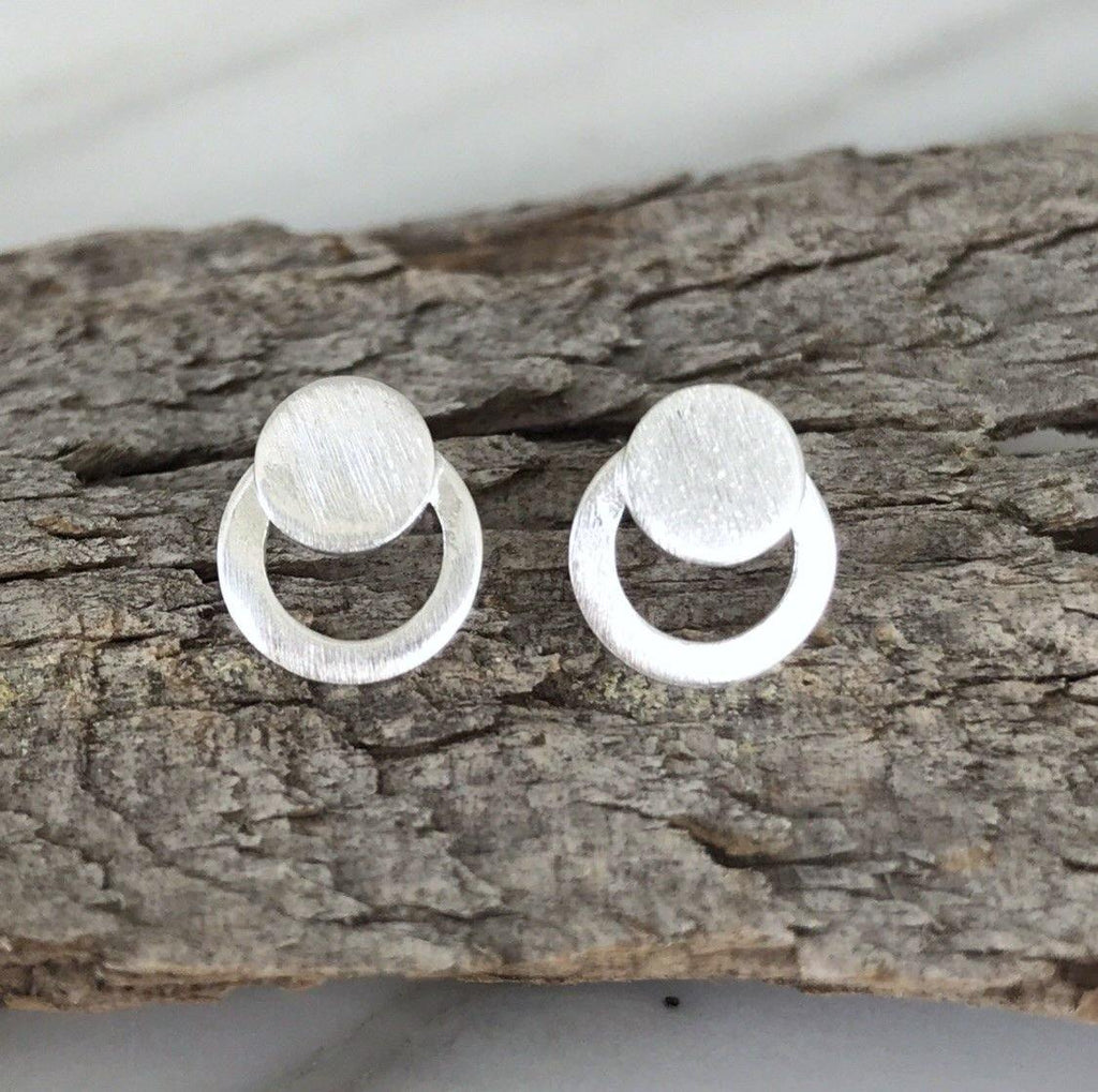 Genuine Sterling Silver 925 Small Double Circle Matt Finish Stud Earrings