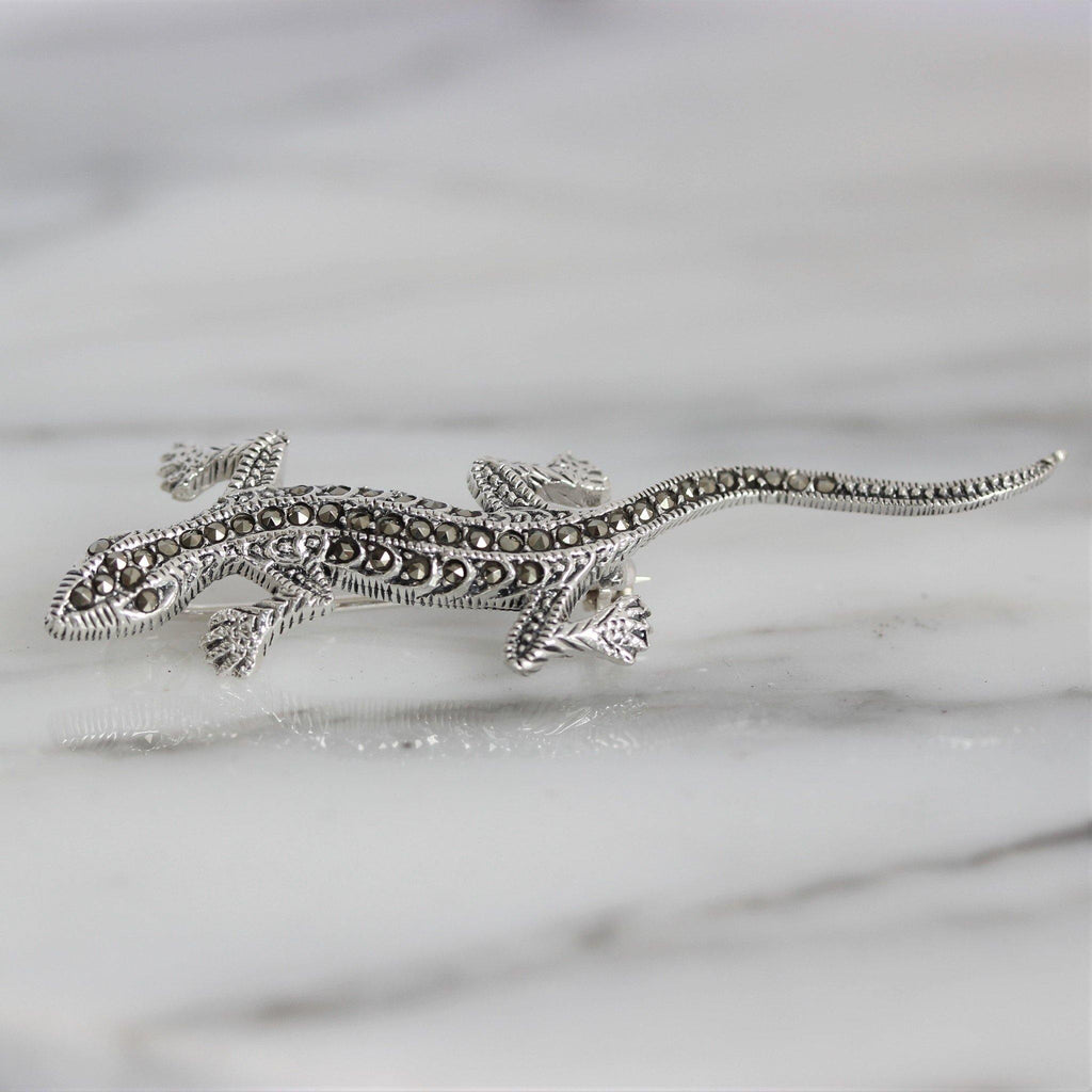 Genuine Sterling Silver 925 Marcasite Vintage Inspired Lizard Gecko Brooch Pin