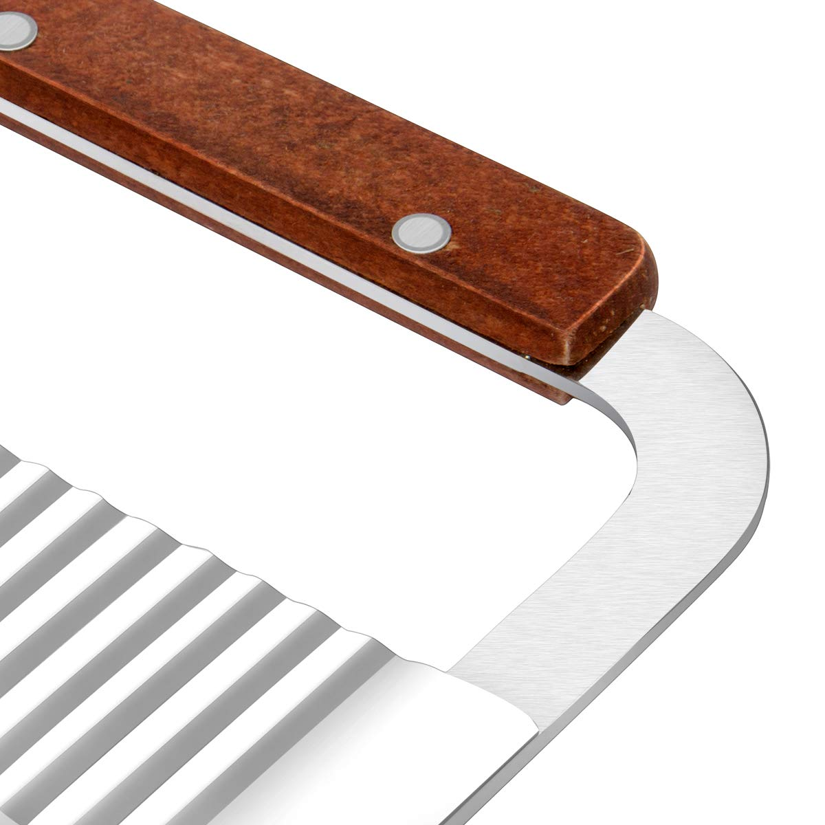 Wave Crinkle Cutter, Wood Handle Stainless Steel Blade 7-Inch, 2 pack