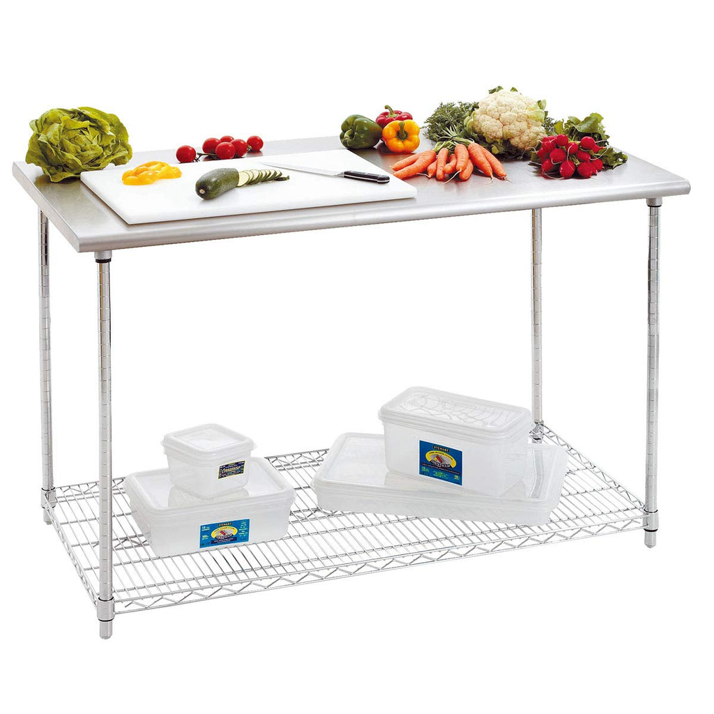 TOP KITCHEN Stainless Steel 304 Working Table with Adjustable Wire Shelves, 47 X 24 X 35 Inches.