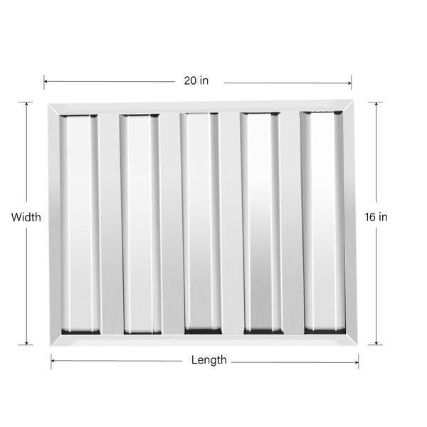 Baffle Filter TOP KITCHEN Stainless Steel Hood Filter Pack of 6 16 x 20
