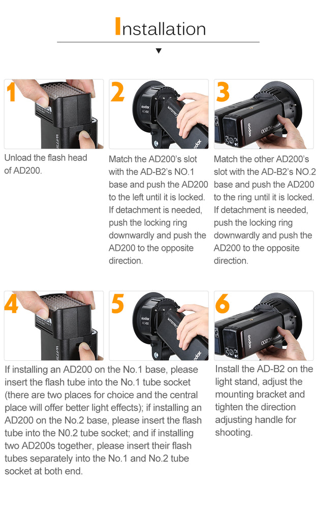 Godox AD-B2 Bowens Mount double tubes Light Head Bracket .