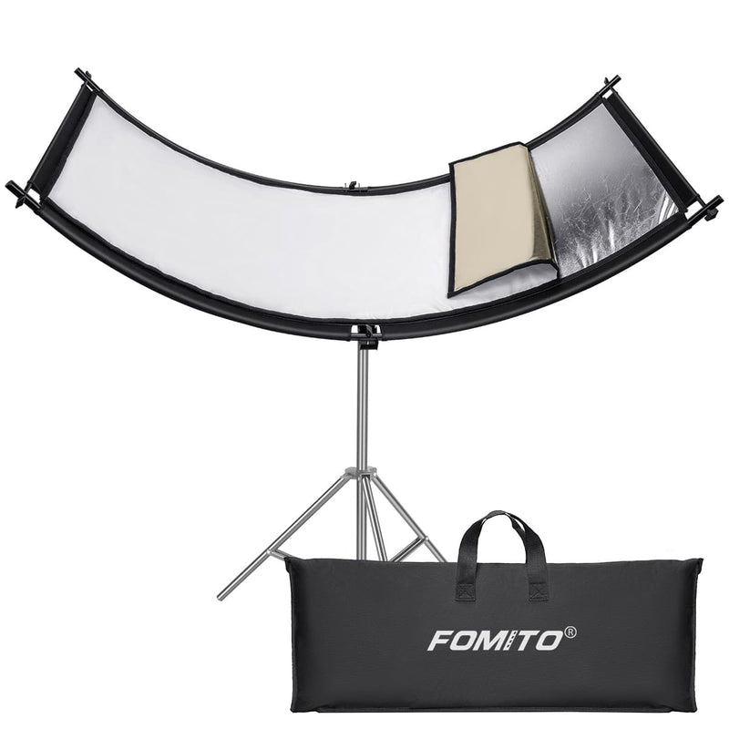 Fomito Curved Reflector Diffuser 66cmx180cm Lighting Reflector with Black/Silver/White/Gold Bag