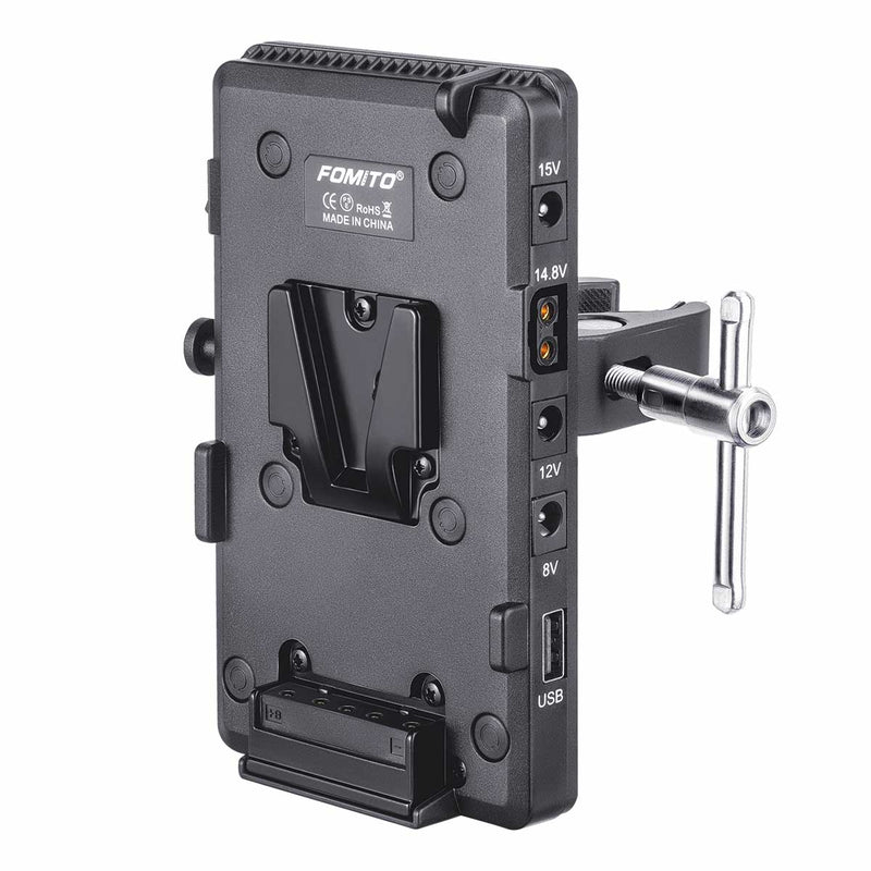 Fomito V-Lock V Mount Battery Adapter Plate with Super Clamp with D-TAP/DC/USB Power Output