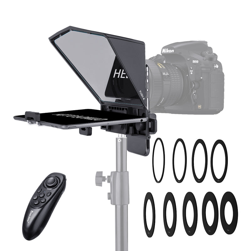 Desview T2 Teleprompter Prompter for Smartphone/Tablet/DSLR Camera with 8 Sizes Lens Adapter Rings
