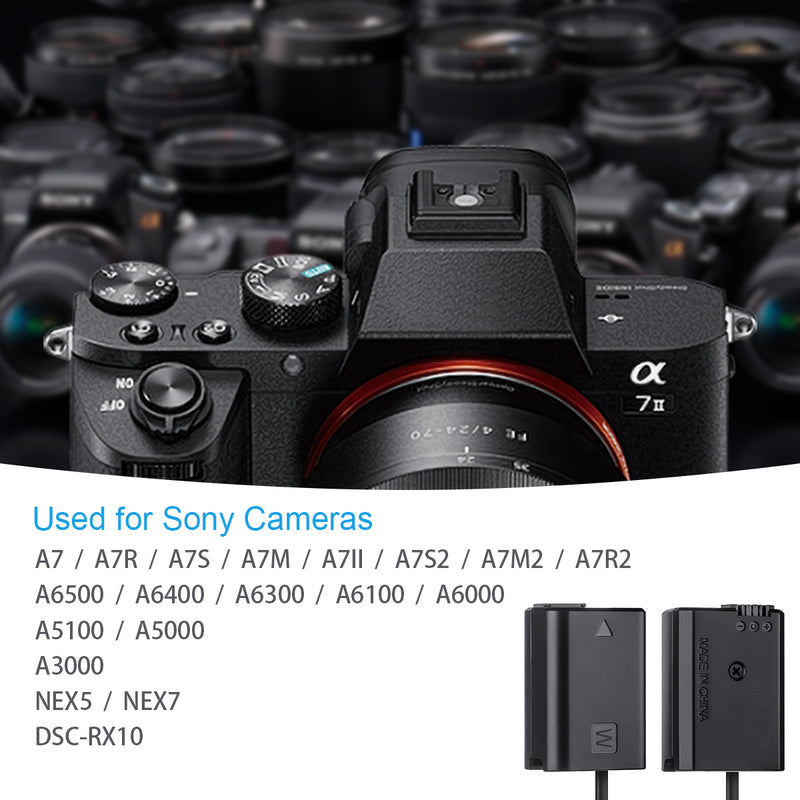 Fomito Sony FW50 Dummy Battery DC Port Fully decoded 8V for A7 A7R A7S A7R2 A6500 A5100 A3000 Nex5