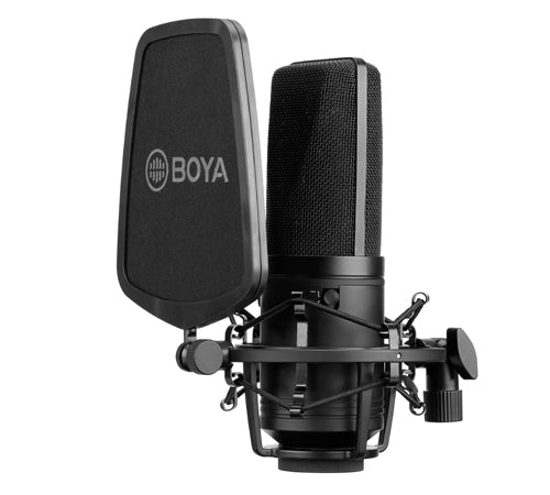 BOYA BY-M1000 Large Diaphragm Broadcast-quality Condenser Microphone with Shockmount & Pop Filter