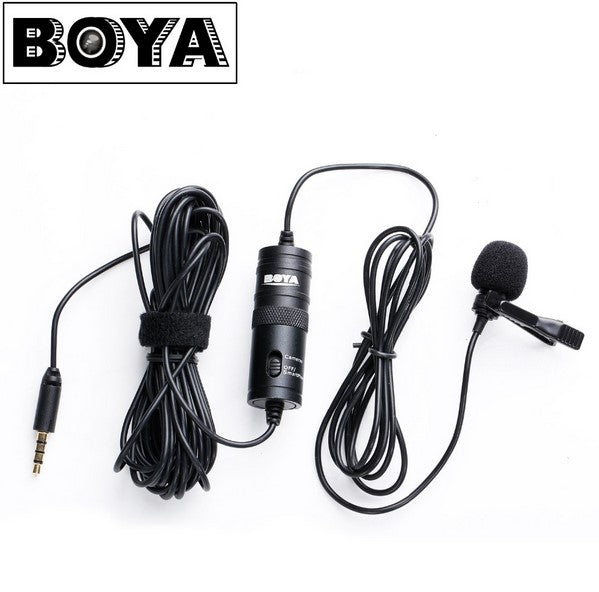 BOYA BY-M1 Professional Microphone 6M Lavalier Stereo Audio Recorder Interview Clip Mic For Nikon Canon DSLR iPhone 6s 7