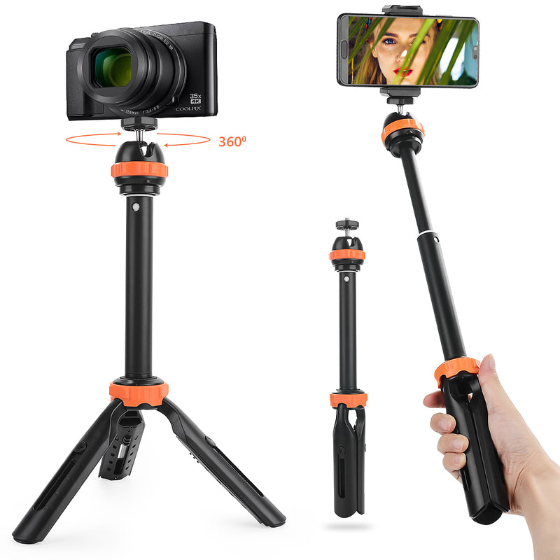Fomito Extension Tripod Holder Mini Selfie Stick Handle Grip with Ball Head and Phone Clip