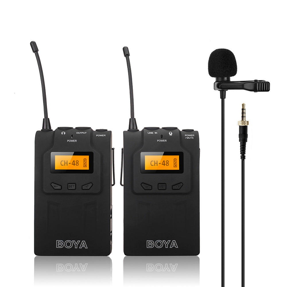 BOYA BY-WM6 Professional Wireless Microphone System 48 Channel Omni-directional Lavalier Microphone For DSLR Camcorders