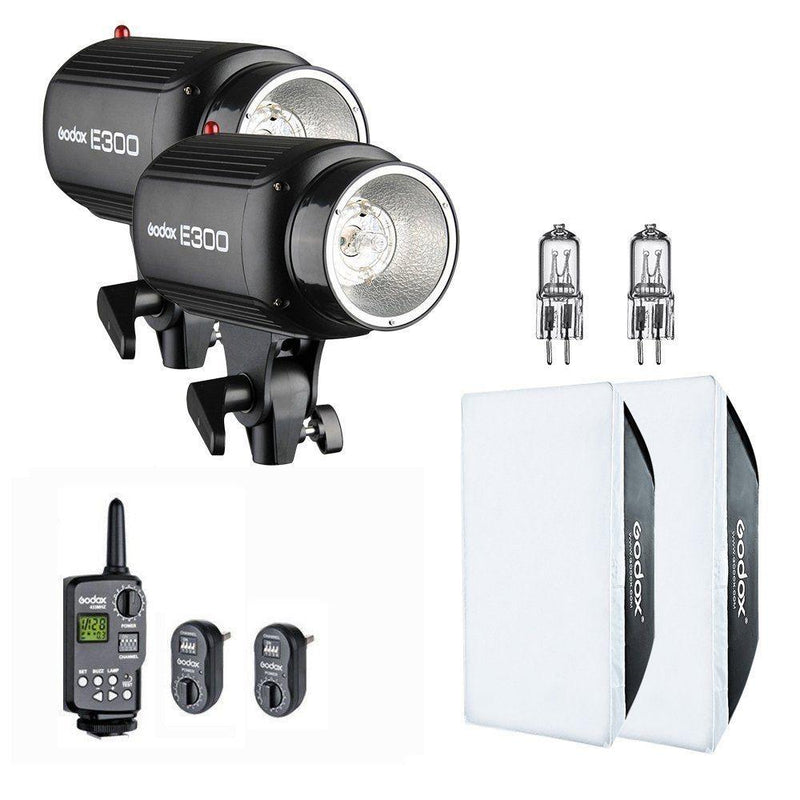 Godox 600W 2x300W Photo Studio Strobe Flash Light Kit w/ RT-16 Channel Trigger - FOMITO.SHOP
