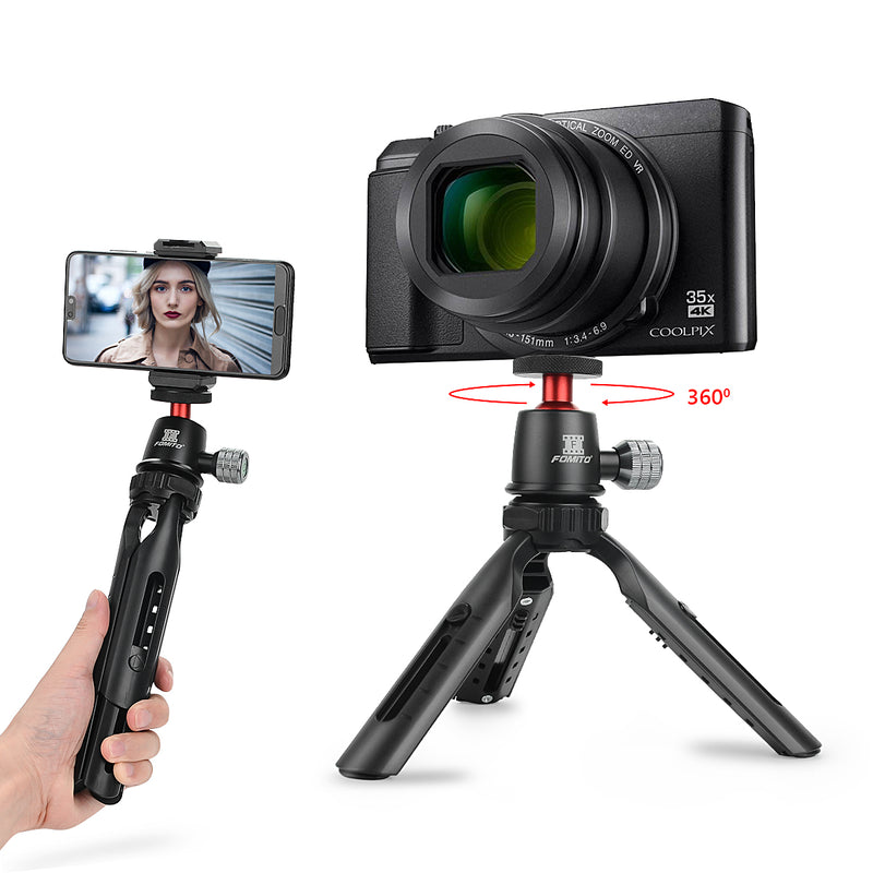 Fomito Mini Tripod Cell Phone Tripod Mini Selfie Stick Handle Grip with Ball Head and Phone Clip