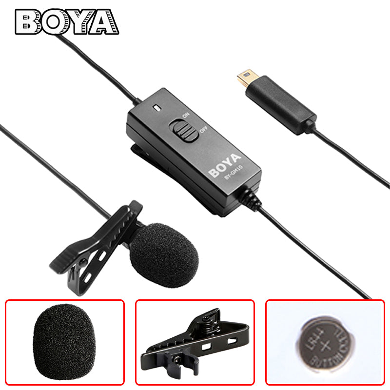 BOYA BY-GM10 Lavalier Microphone Pro Omni-directional Audio with 8m Signal Wire for GoPro HD Hero4 3+ 3