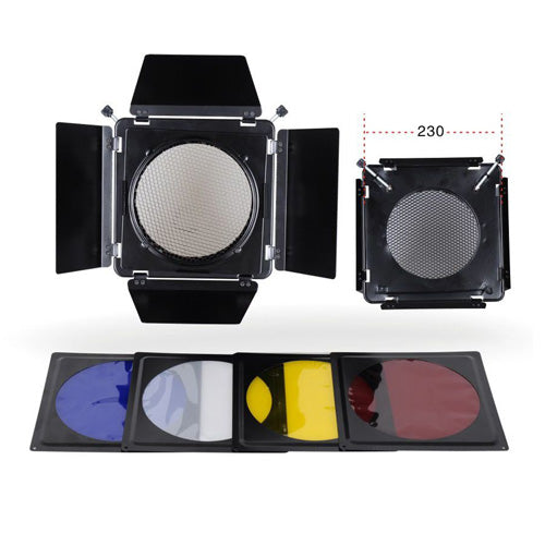 NiceFoto SN-12 Studio Flash Accessories Elinchrom Barn Door Filter Kits for Elinchrom Standard Reflector 230mm Standard Hood (Φ230)
