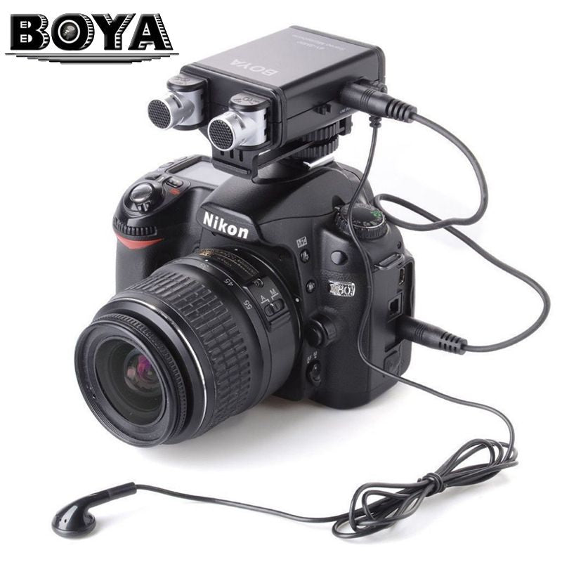 BOYA BY-SM80 Mini Stereo X/Y Condenser Microphone for Canon Nikon DSLR Camera Camcorder Audio Recorder