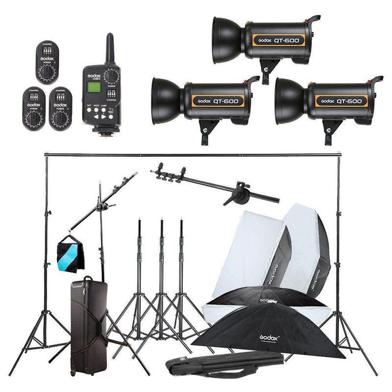 Godox 3X QT600W Studio Flash Light w/ Stand Softbox Trigger Carrying Case Kit - FOMITO.SHOP