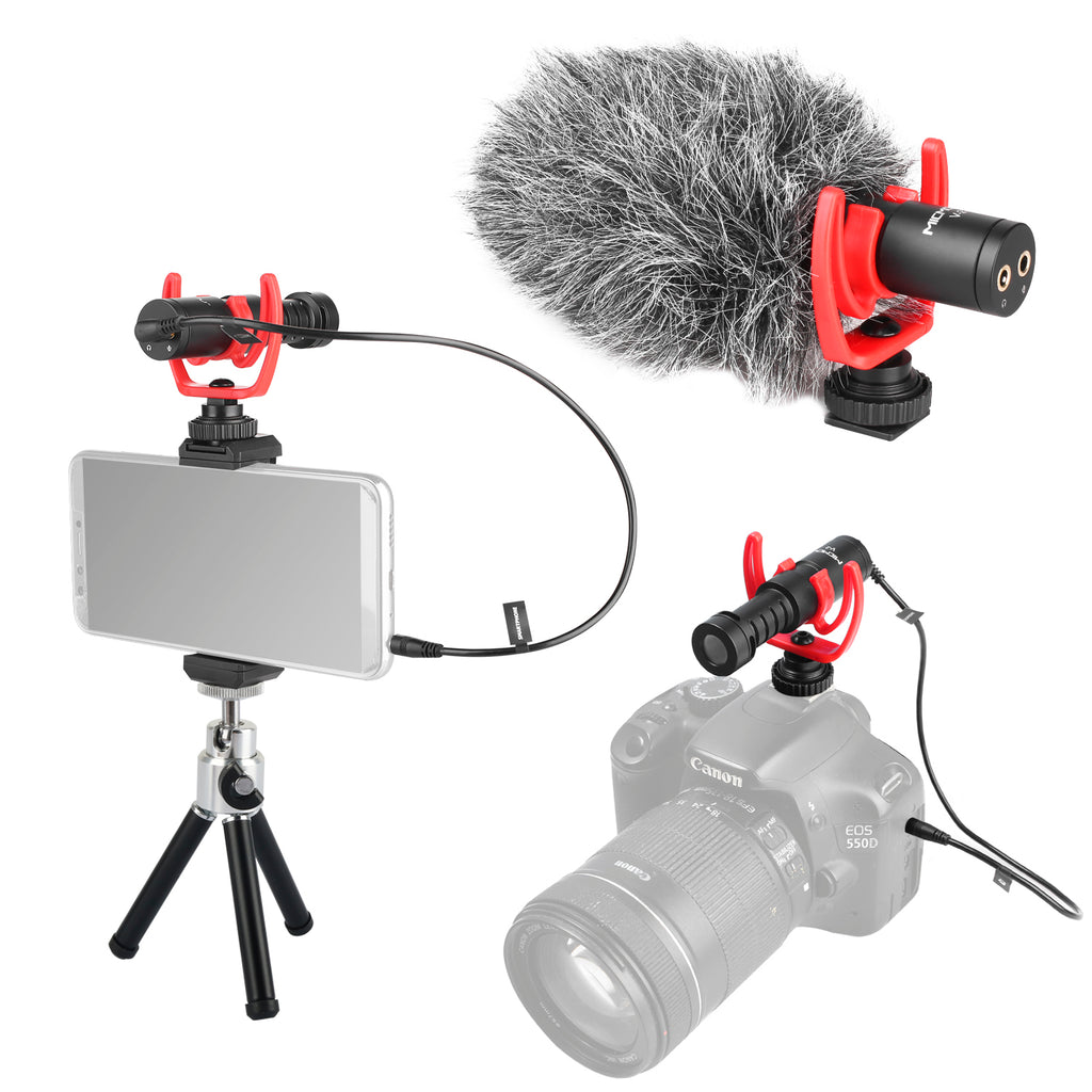 MICMOV V-2 Shotgun Microphone Super-Cardioid Mic Compatible with Shock mount Tripod 3.5mm Interface