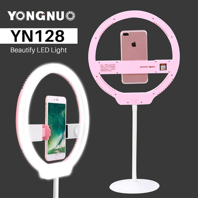 YONGNUO YN128 Dimmable Photography LED Ring Selfie Light 3200K-5500K Portable Video Lighting for iPhone X Nikon Canon DSLR