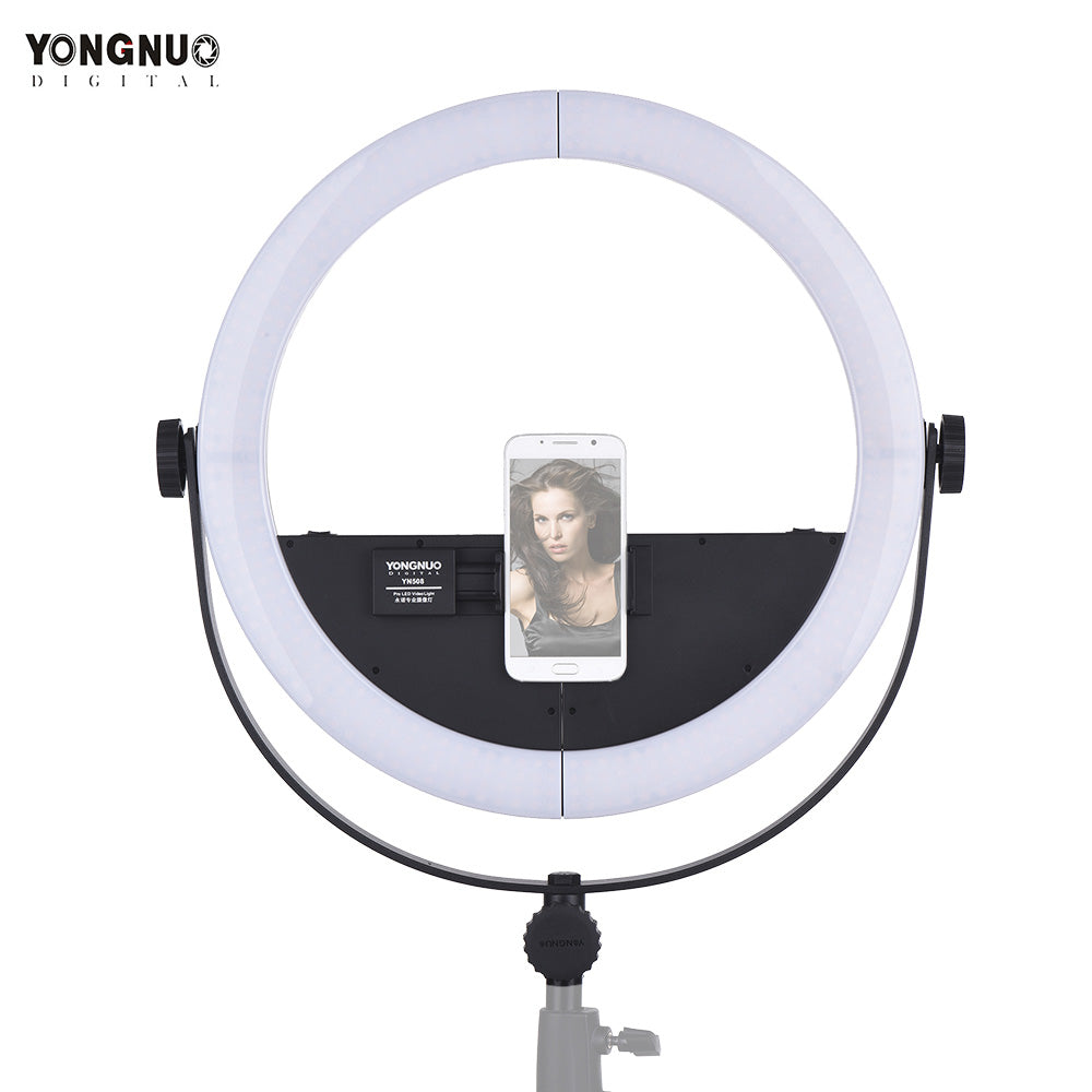 YONGNUO 2 in 1 Youtube LED Video Lamp YN508 Photography Dimmable Ring light with U-type Bracket for iPhone X Samsung Mobile