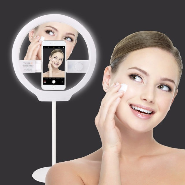 YONGNUO YN128 II Photography LED Ring Light with Makeup Mirror Bicolor Beautify LED Selfie Lamp for iPhone Mobile Youtube makeup