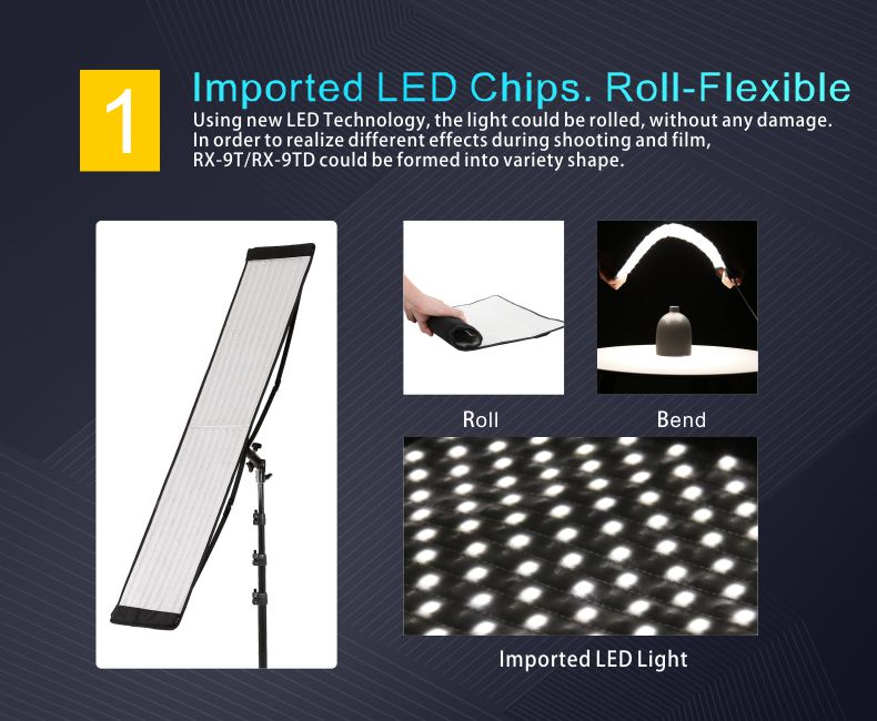 Falcon Eyes RX-29TDX Rollable Cloth LED Fill-in Light Lamp Lighting Panel 100W Bi-Color 3000K-5600K CRI95 for Studio Photography