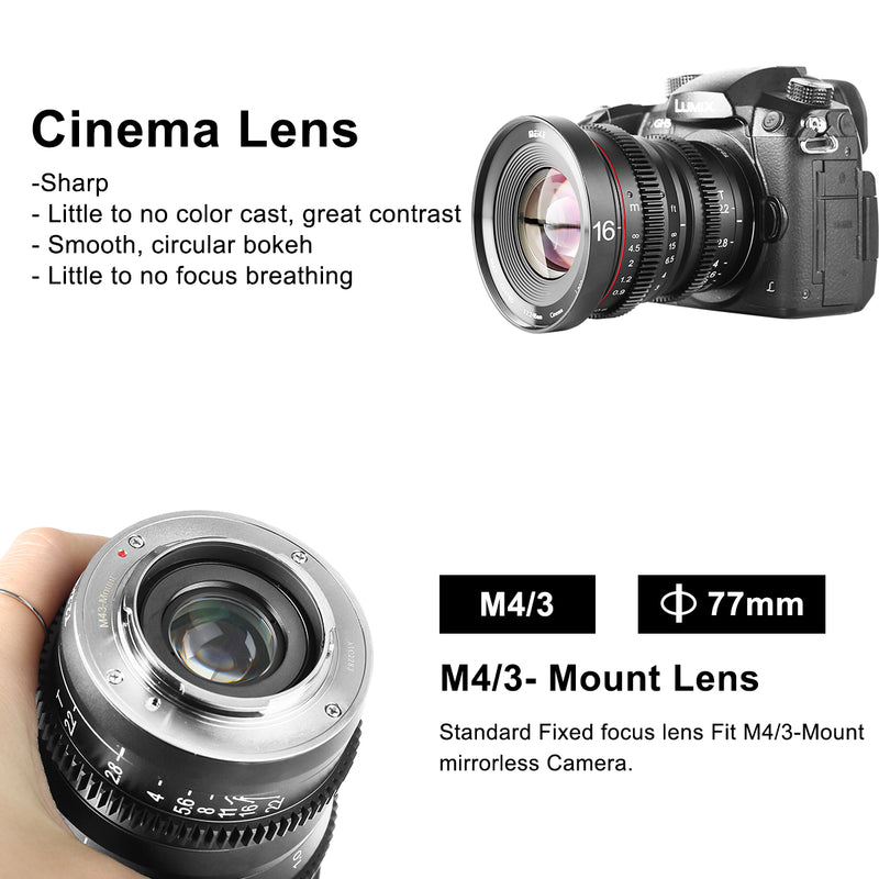 Meike 16mm T2.2 Manual Focus Cinema Lens Fit for M4/3 Min(OLYMPUS/Panasonic Lumix)