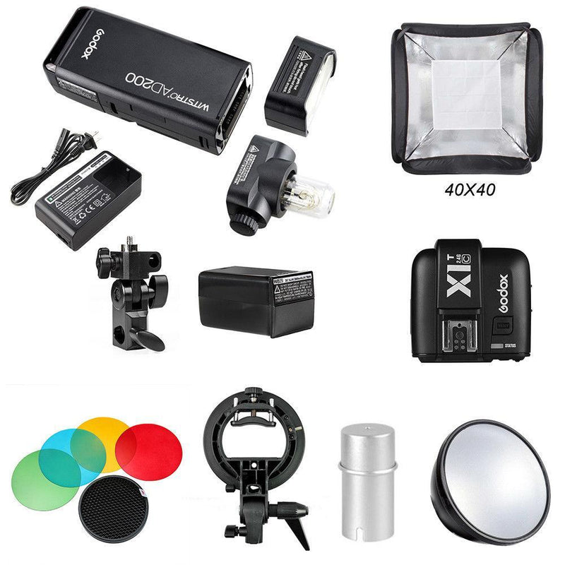 Godox 2.4 TTL HSS AD200 Camera Flash Light+X1T-C Transmitter+AD-S2+Softbox Kit - FOMITO.SHOP