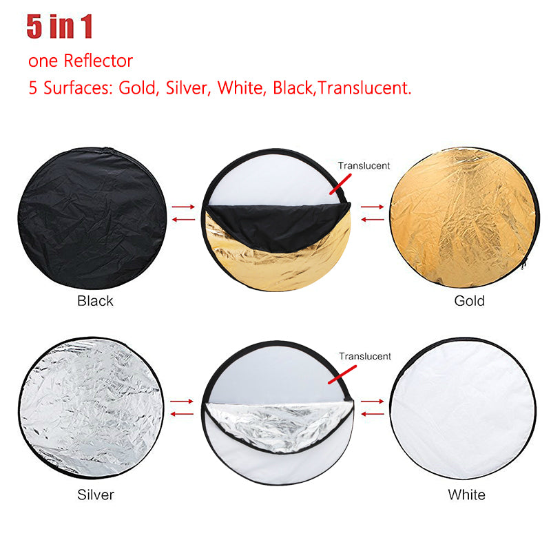 "32"" 80cm 5in1 Collapsible Portable Light Reflector Diffuser Round Photo disc Multi Color Reflector"