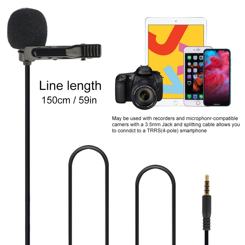 Fomito Micmov Professional Lavalier Lapel Microphone Omnidirectional Condenser Recording Mic