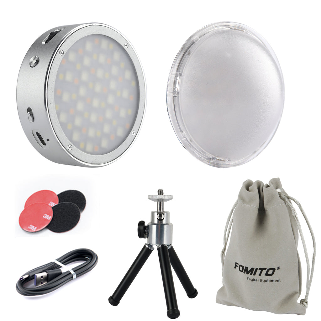 Godox R1 Magnetic Round RGB Mini Creative LED Light 2500-8500K CRI98 with Velcro& Lithium Battery