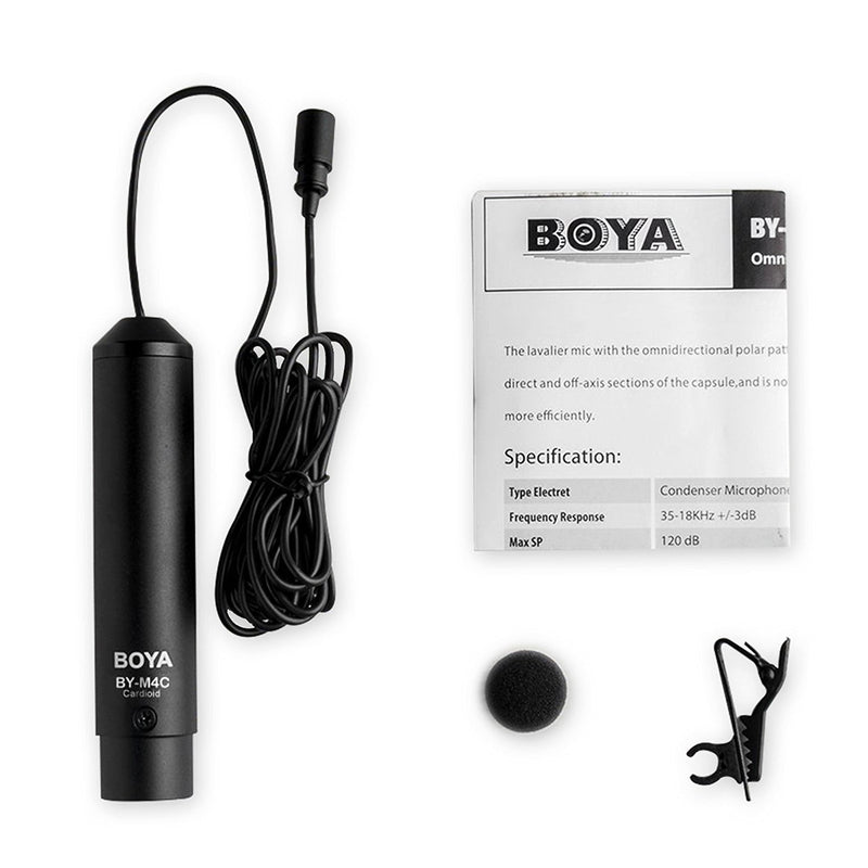 BOYA BY-M4C Lavalier Microphone High-quality condenser mic is ideal for video use Professional Clip-On Mic for Camcorders,Audio recorders etc.