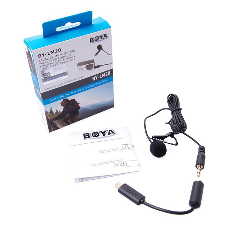 BOYA BY-LM20 Lavalier Clip-on Microphone for GoPro Hero 4 3 3+ Canon Nikon Sony Panasonic DSLR Camera Camcorder Audio Video Mic