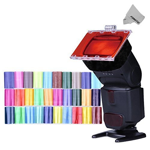 Fomito Color Gel Kit Filter 30ps w/ Gels-band & Reflector for Camera Flash