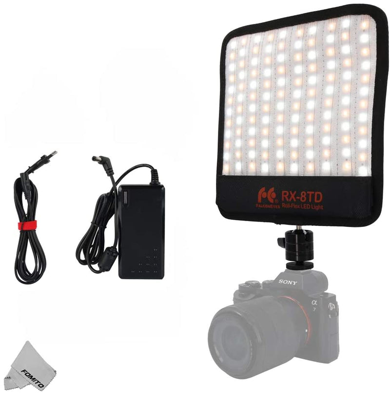 Falconeyes RX-8TD Foldable Roll-Flex LED Light Kit 3200K-5600K CRI 95 On-Camera Lamp Splash-Proof
